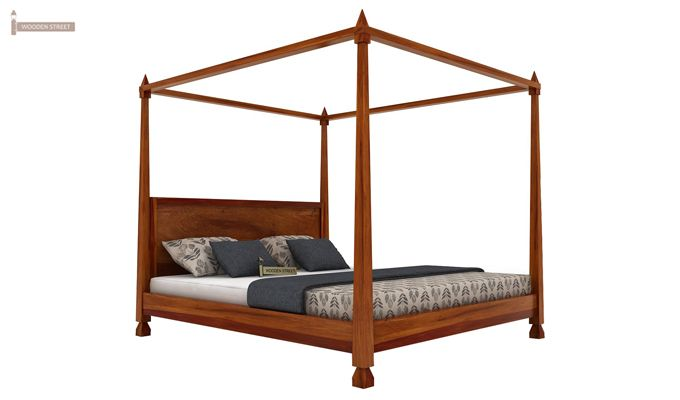 Kayur Poster Bed Without Storage (Queen Size, Honey Finish)-4