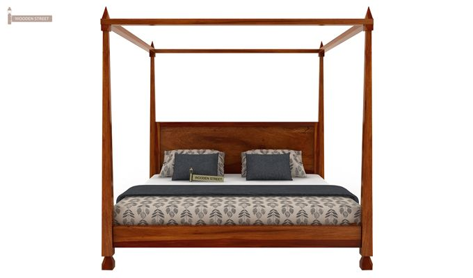 Kayur Poster Bed Without Storage (Queen Size, Honey Finish)-5