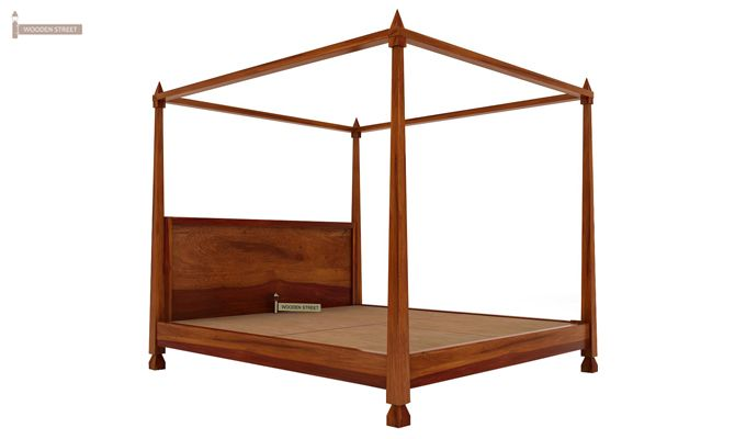 Kayur Poster Bed Without Storage (Queen Size, Honey Finish)-6