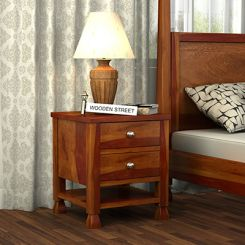 Kayur Bedside Table (Honey Finish)