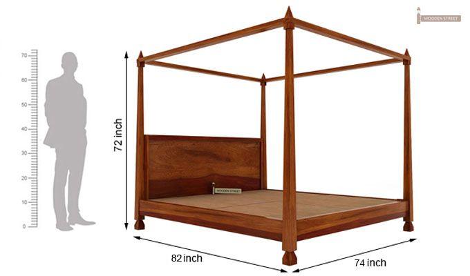 Kayur Poster Bed Without Storage (King Size, Honey Finish)-7