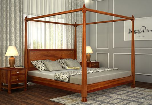 Kayur Poster Bed Without Storage (Queen Size, Honey Finish)