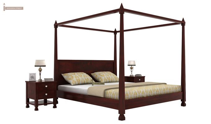 Kayur Poster Bed Without Storage (King Size, Mahogany Finish)-1