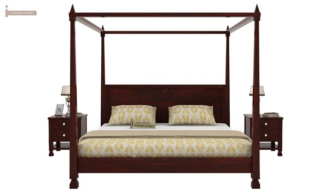Kayur Poster Bed Without Storage (King Size, Mahogany Finish)-2