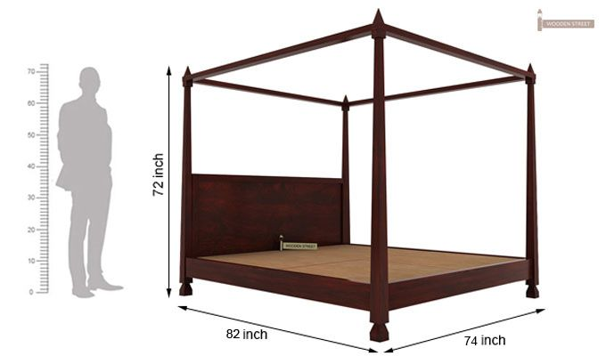Kayur Poster Bed Without Storage (King Size, Mahogany Finish)-6