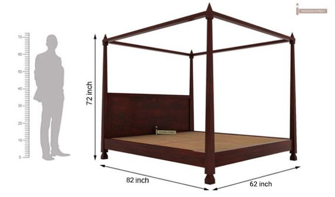 Kayur Poster Bed Without Storage (Queen Size, Mahogany Finish)-6