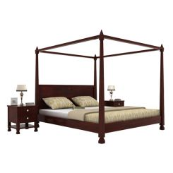 Kayur Poster Bed Without Storage (King Size, Mahogany Finish)