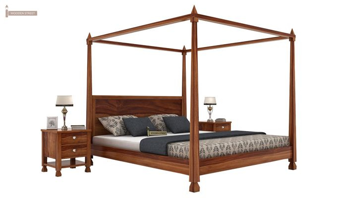 Kayur Poster Bed Without Storage (Queen Size, Teak Finish)-1