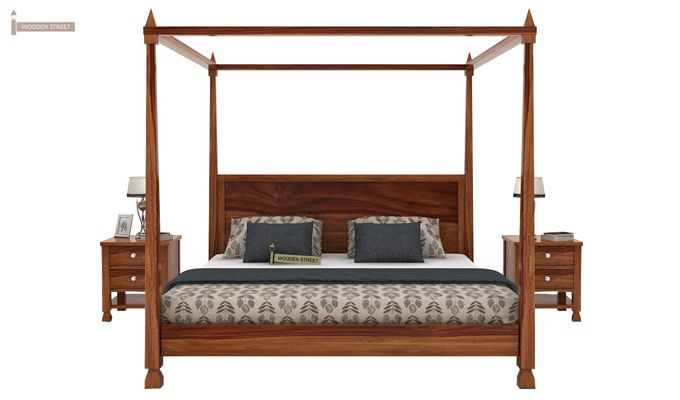 Kayur Poster Bed Without Storage (Queen Size, Teak Finish)-2