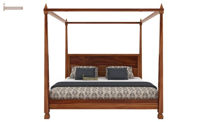 Kayur Poster Bed Without Storage (Queen Size, Teak Finish)-4