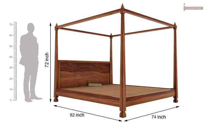Kayur Poster Bed Without Storage (King Size, Teak Finish)-6