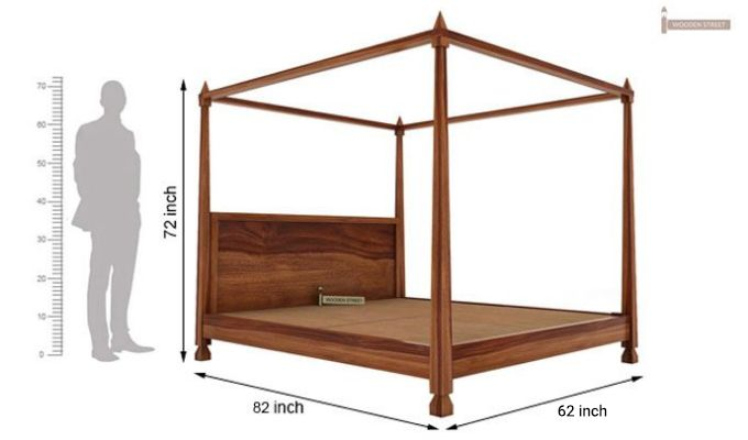 Kayur Poster Bed Without Storage (Queen Size, Teak Finish)-6