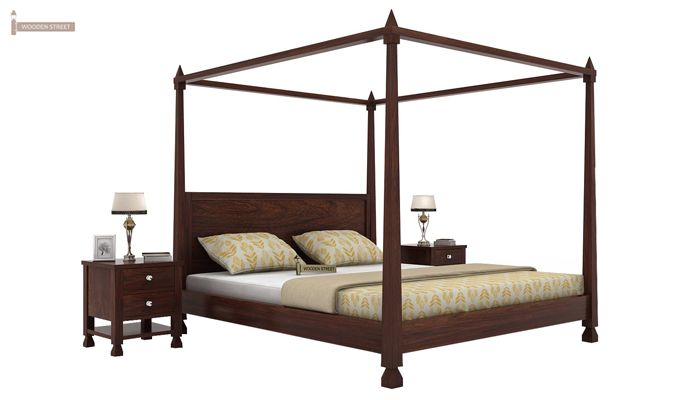 Kayur Poster Bed Without Storage (Queen Size, Walnut Finish)-1