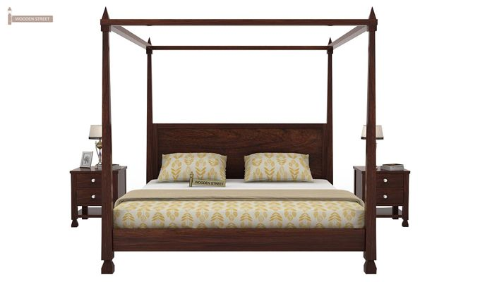 Kayur Poster Bed Without Storage (Queen Size, Walnut Finish)-2