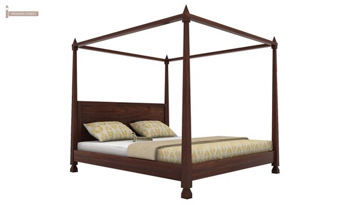 Kayur Poster Bed Without Storage (Queen Size, Walnut Finish)-3