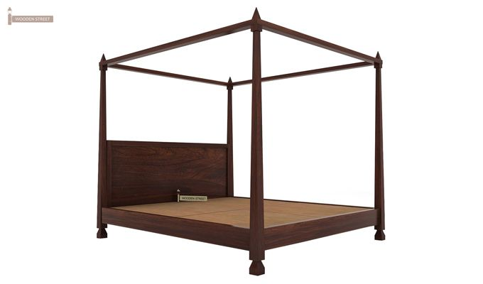 Kayur Poster Bed Without Storage (Queen Size, Walnut Finish)-5