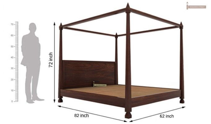 Kayur Poster Bed Without Storage (Queen Size, Walnut Finish)-6