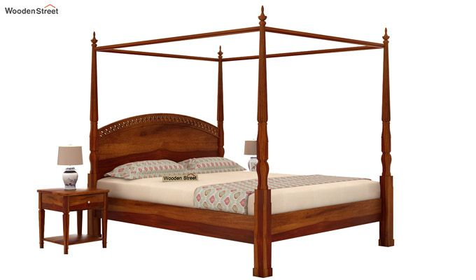 Vanesa Poster Double Bed Without Storage (King Size, Honey Finish)-2