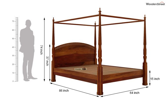 Vanesa Poster Double Bed Without Storage (Queen Size, Honey Finish)-7