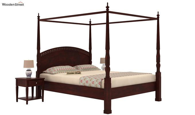 Vanesa Poster Double Bed Without Storage (Queen Size, Mahogany Finish)-1