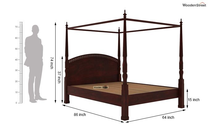 Vanesa Poster Double Bed Without Storage (Queen Size, Mahogany Finish)-6