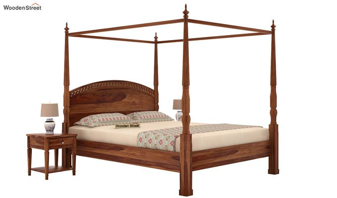 Vanesa Poster Double Bed Without Storage (Queen Size, Teak Finish)-1