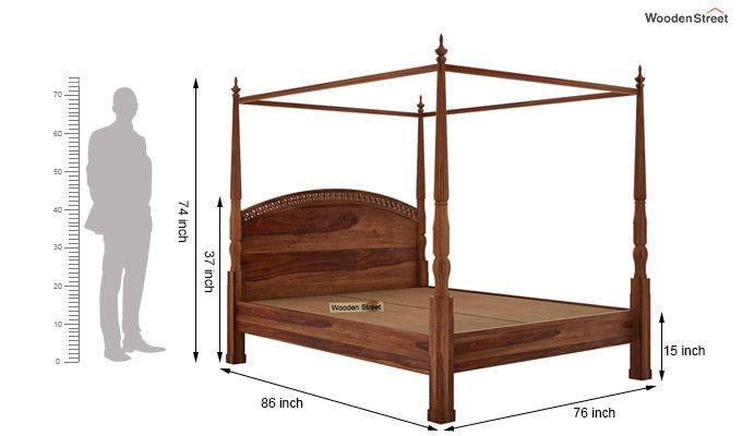 Vanesa Poster Double Bed Without Storage (King Size, Teak Finish)-6