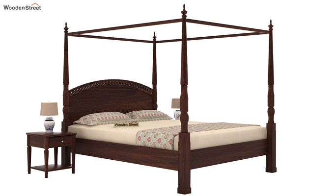Vanesa Poster Double Bed Without Storage (Queen Size, Walnut Finish)-1