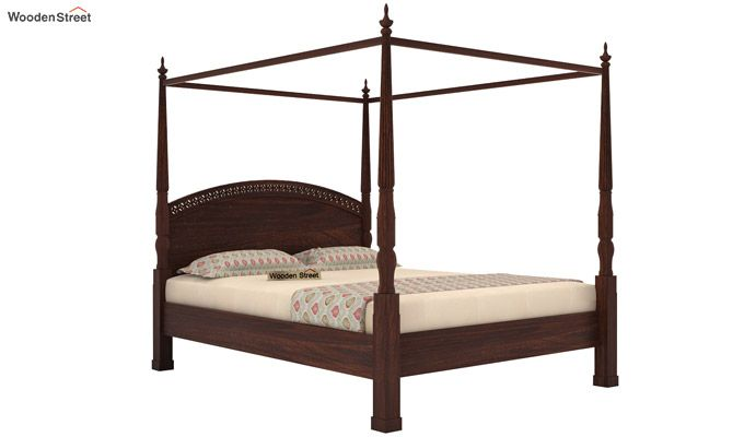 Vanesa Poster Double Bed Without Storage (Queen Size, Walnut Finish)-3