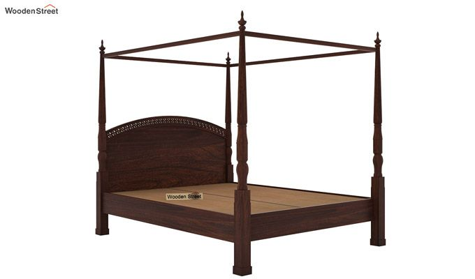 Vanesa Poster Double Bed Without Storage (Queen Size, Walnut Finish)-5