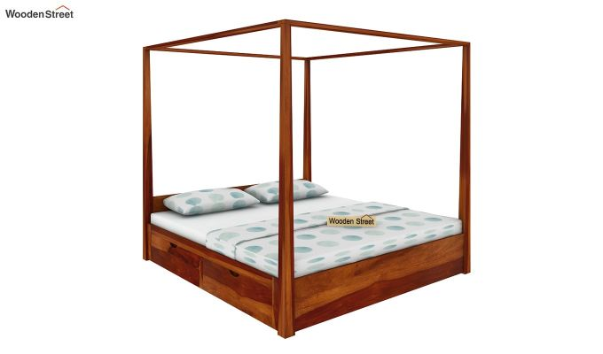 Wisker Poster Bed With Storage (Queen Size, Honey Finish)-2