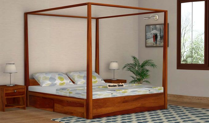 Wisker Poster Bed With Storage (Queen Size, Honey Finish)-1