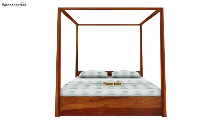 Wisker Poster Bed With Storage (Queen Size, Honey Finish)-3