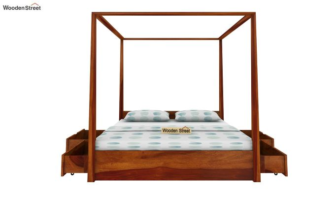 Wisker Poster Bed With Storage (Queen Size, Honey Finish)-5