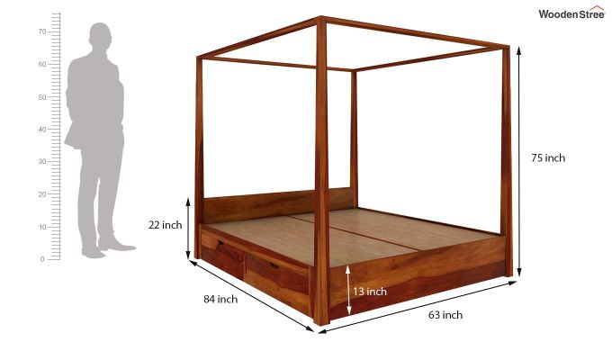 Wisker Poster Bed With Storage (Queen Size, Honey Finish)-7