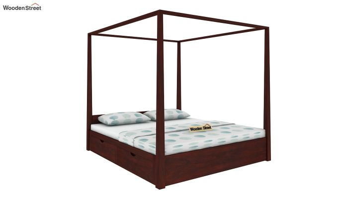 Wisker Poster Bed With Storage (Queen Size, Mahogany Finish)-1