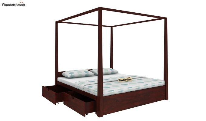 Wisker Poster Bed With Storage (Queen Size, Mahogany Finish)-3