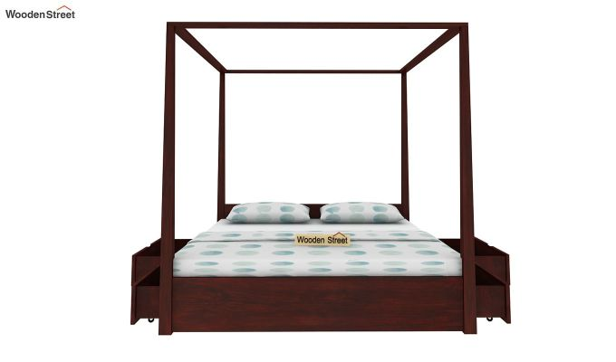 Wisker Poster Bed With Storage (King Size, Mahogany Finish)-4