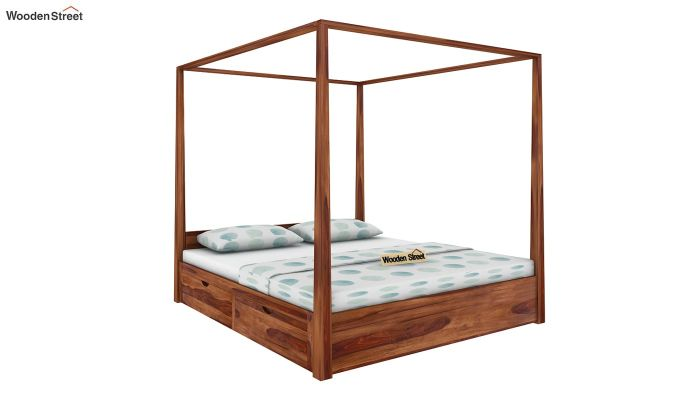 Wisker Poster Bed With Storage (King Size, Teak Finish)-1