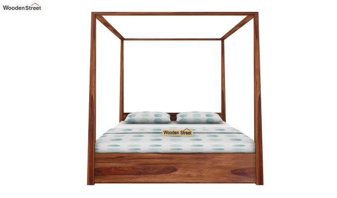 Wisker Poster Bed With Storage (King Size, Teak Finish)-2