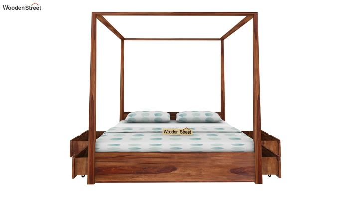 Wisker Poster Bed With Storage (King Size, Teak Finish)-4