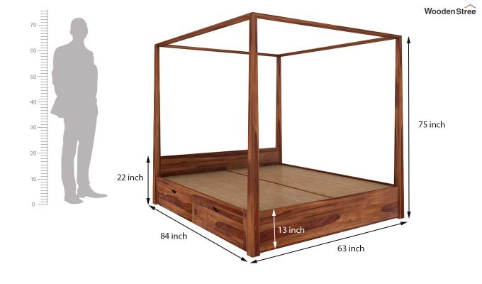 Wisker Poster Bed With Storage (Queen Size, Teak Finish)-6