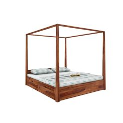Wisker Poster Bed With Storage (King Size, Teak Finish)