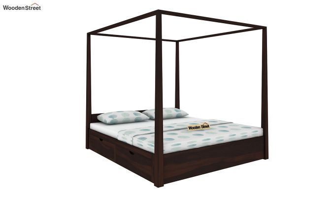 Wisker Poster Bed With Storage (King Size, Walnut Finish)-1