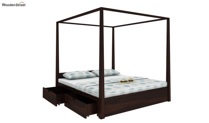 Wisker Poster Bed With Storage (King Size, Walnut Finish)-3