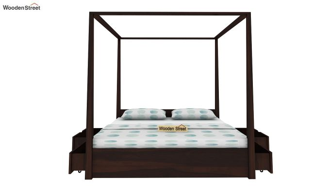 Wisker Poster Bed With Storage (King Size, Walnut Finish)-4