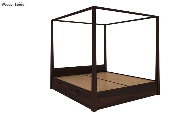 Wisker Poster Bed With Storage (Queen Size, Walnut Finish)-5