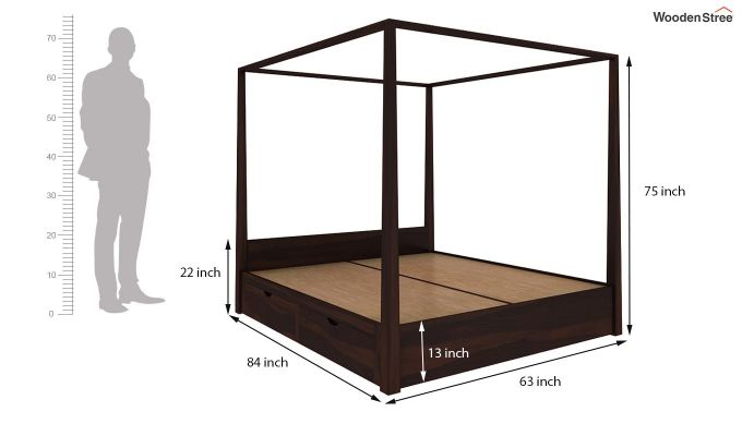 Wisker Poster Bed With Storage (Queen Size, Walnut Finish)-6