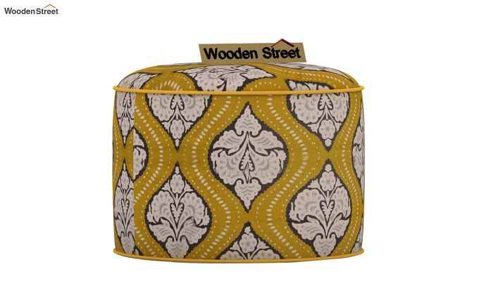Robin Round Pouffe (Mustard Coral)-2