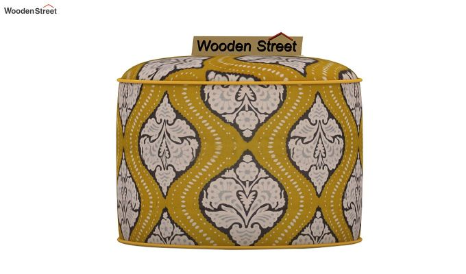 Robin Round Pouffe (Mustard Coral)-3